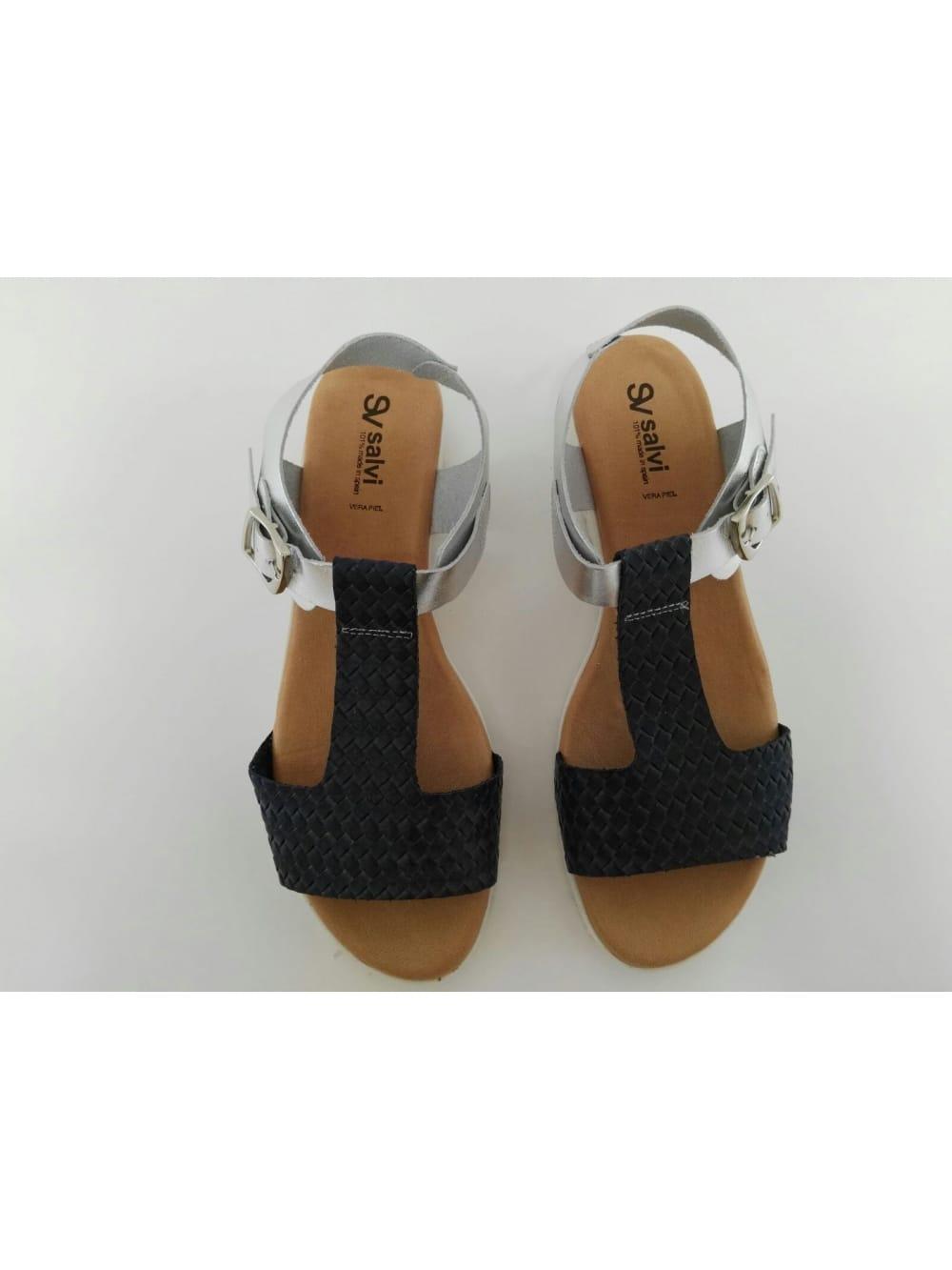 De Azul Plata Piel Sandalia Calzados Y Grau YgvbIf67ym