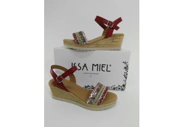 Sandalia piel roja multicolor