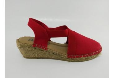 Zapatilla de yute lona piel rojo