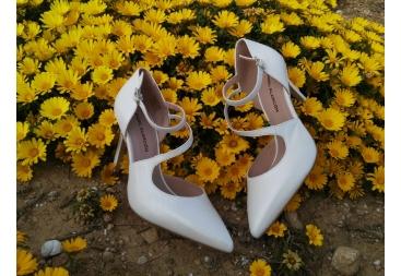 Zapato nacar blanco piel
