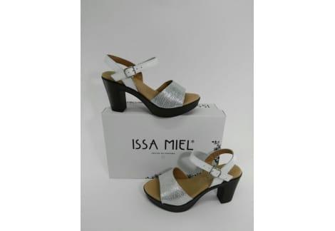 Sandalia de piel plata y blanco