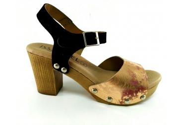Sandalia de colores negro y bronce, Isa Miel