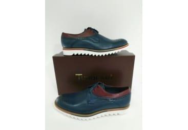 Zapato piel azul y rojo