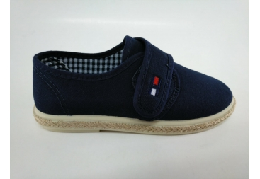 Zapatilla lona azul velcro de niño