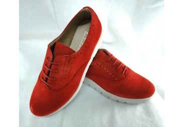 Zapato piel vuelta rojo