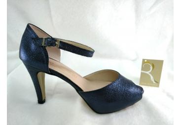 Zapato abierto en color azul marino Ana Román