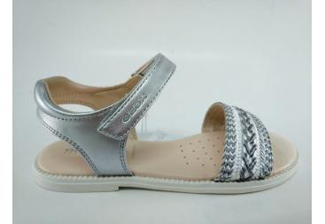 Sandalia Geox blanco y plata
