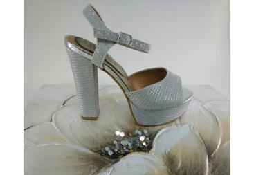 Sandalia plataforma plata fantasía brillo nuevo estilo