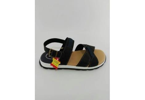 Sandalia de piel negra y azul marino