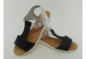 Sandalia de piel azul y plata