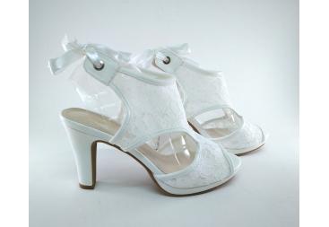 Sandalia novia prestigio encaje blanco