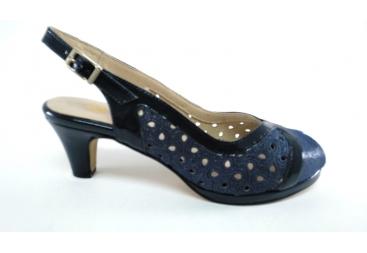 Trevede zapato sandalia de señora en ancho especial color azul marino
