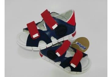 Sandalia de piel de mayoral azul y rojo
