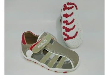 Sandalia cerrada de mayoral taupe rojo y blanco