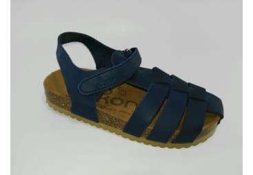 Sandalia de piel de yokono tiras azul