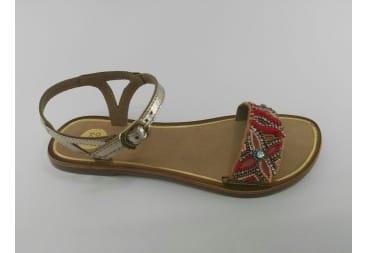 Sandalia de piel coral colores
