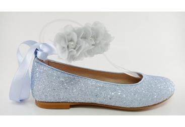 Zapato comunión tipo sabrina azul cleste