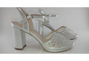 Menbur sandalia de brillo plata