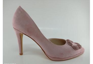 Menbur zapato cerrado en ante rosa(nude)