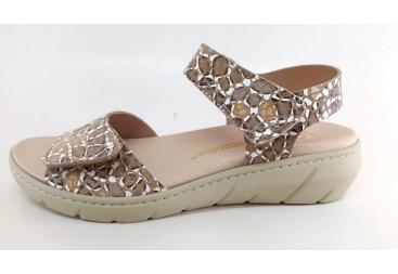 Descanflex sandalia señora beig grabada