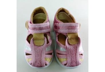 Sandalia lona rosa