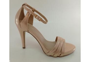Menbur sandalia tiras en metalizado rosa, con talón