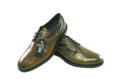 Zapato piel marrón y vino