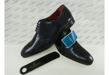 Zapato piel charol azul